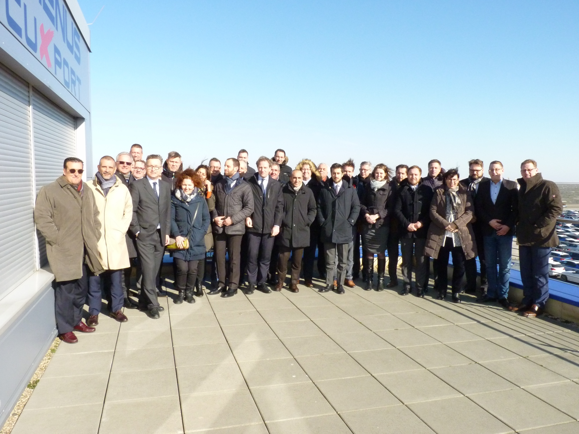 Participants of the ECG's maritime working group at the Cuxport terminal. copyright: Cuxport GmbH.